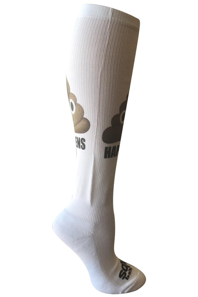 Poop Happens White Novelty Socks- The Sox Box