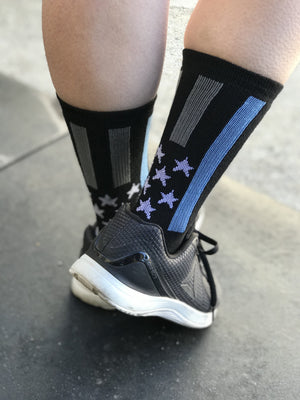 Police Thin Blue Line Black Athletic Crew Socks- The Sox Box
