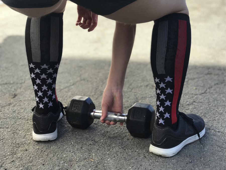 Firefighter Thin Red Line Black Athletic Knee High Socks- The Sox Box