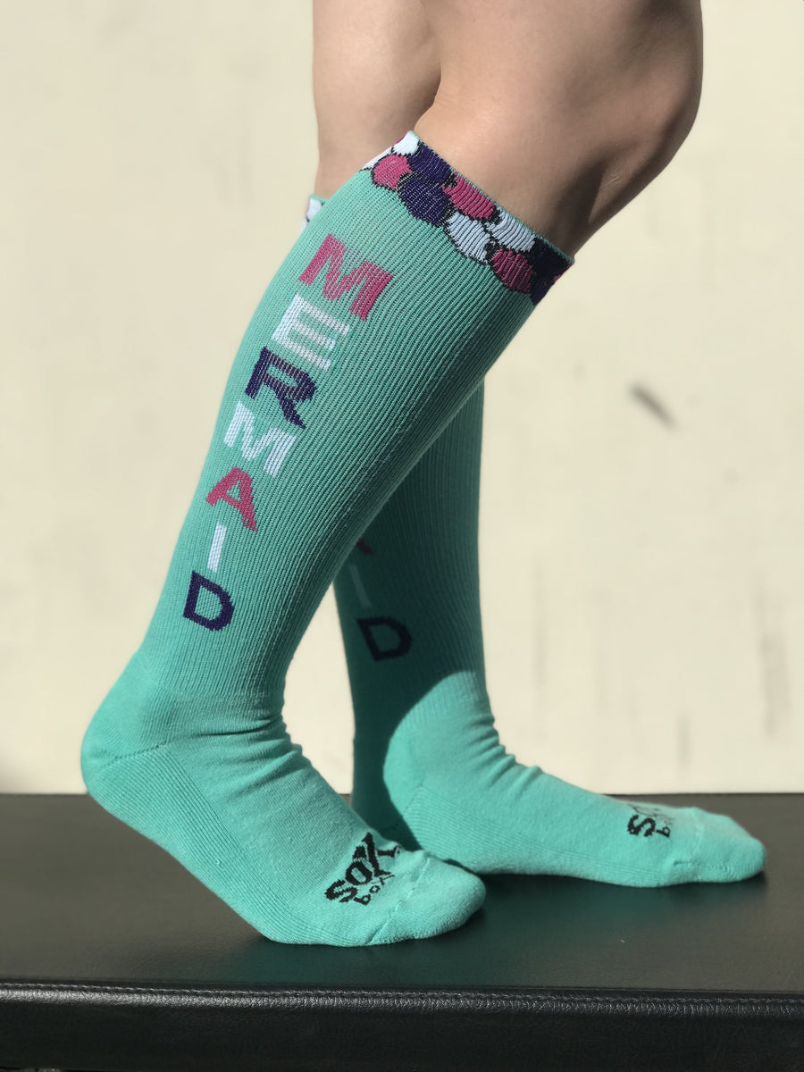 Mermaid Life Aqua Fun Knee High Sport Socks - The Sox Box