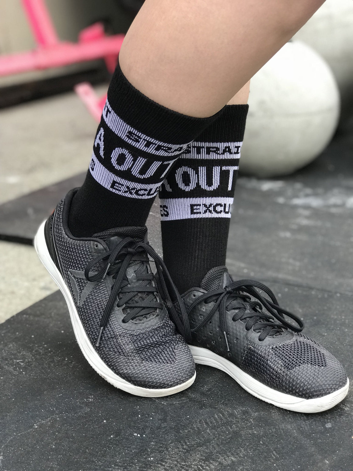 Straight Outta Excuses Black Fun Athletic Crew Socks - The Sox Box