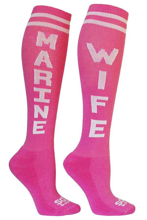 Marine Wife Women's Pink Athletic Knee High Socks- The Sox Box
