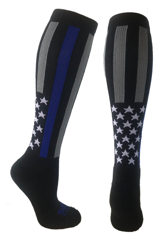 Police Thin Blue Line Black Athletic Knee High Socks- The Sox Box