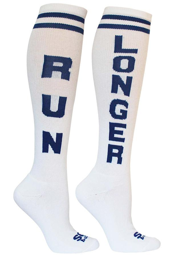 Run Longer White Athletic Knee High Socks - The Sox Box