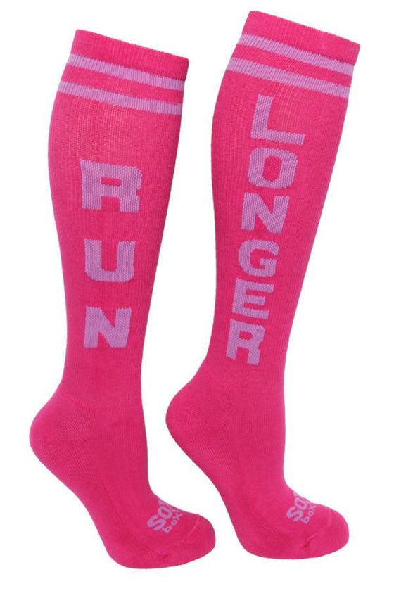 Run Longer Women's Magenta Athletic Knee High Socks- The Sox Box
