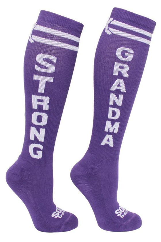 Strong Grandma Purple Fun Knee High Sport Socks - The Sox Box