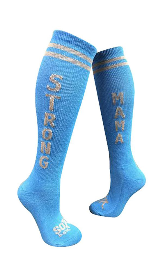 Strong Mama Women's Blue Athletic Knee High Socks- The Sox Box