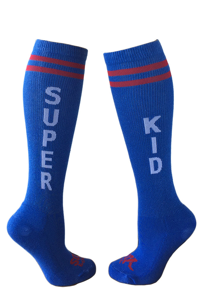 Super Kid Blue Athletic Knee High Socks- The Sox Box