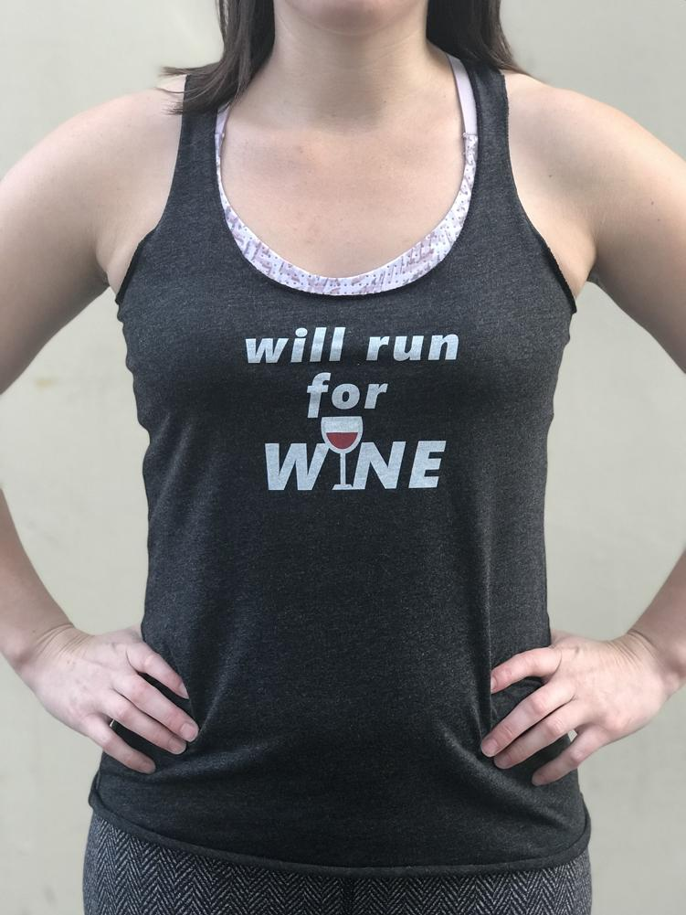Will Run for Wine Women's Workout Triblend Tank Top