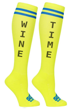 Wine Time Fun Novelty Knee High Socks- The Sox Box