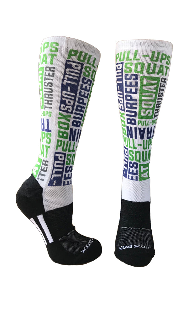 WOD Sox Blue and Green Novelty Socks- The Sox Box