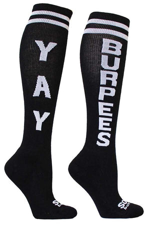 Yay Burpees Black Athletic Knee High Socks- The Sox Box