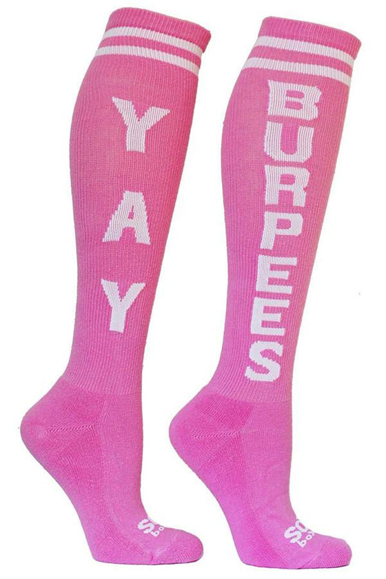 Yay Burpees Pink Fun Knee High Sport Socks - The Sox Box