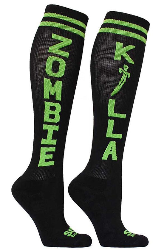 Zombie Killa Black Athletic Knee High Socks- The Sox Box