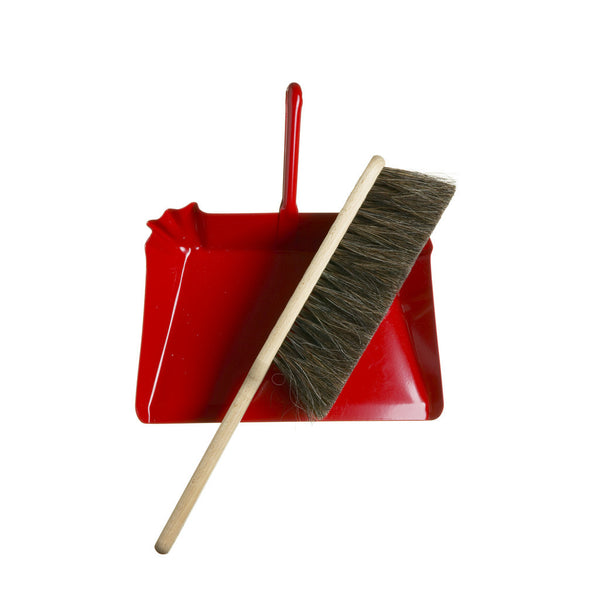 Horsehair Hand Broom and Red Metal Dustpan