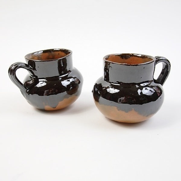 2 Small Brown Ceramic Cups
