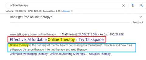 therapy search result example