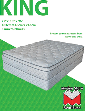 "King Mattress Bag - 76"" x 15"" x 90"" - 3 mil"