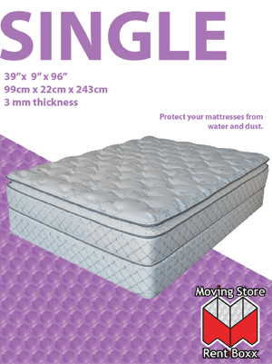 "Twin Size Mattress Bag - 40"" x 12"" x 86"" - 2mm Thickness"