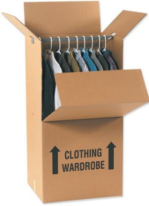 "Wardrobe Box 24"" x 22"" x 46"" - Includes Bar - Double Wall Box"