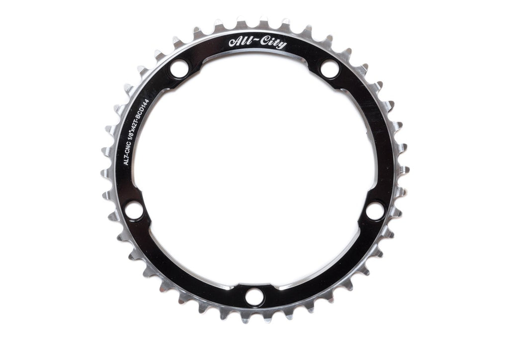 All-City 42T Black 612 Track Ring (144 BCD) (Ships via USA)