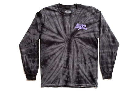 "State Bicycle Co. - ""Smiles for Miles"" - Long Sleeve T-Shirt (Black Tie-Dye) (Ships via USA)"