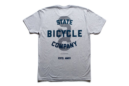 "State Bicycle Co. - ""STATE"" - Premium T-shirt (Gray & Navy) (Ships via USA)"