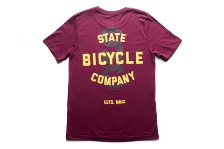 "State Bicycle Co. - ""STATE"" - Premium T-shirt (Maroon & Gold) (Ships via USA)"