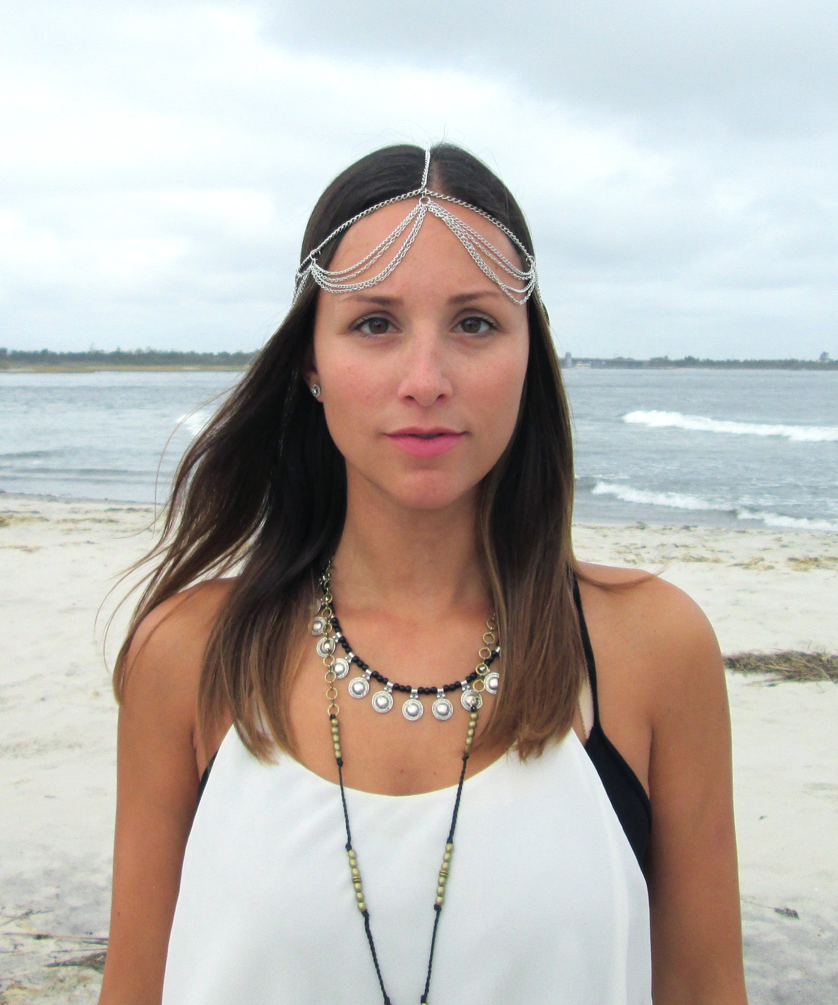 Boho Draped Head Chain / Silver