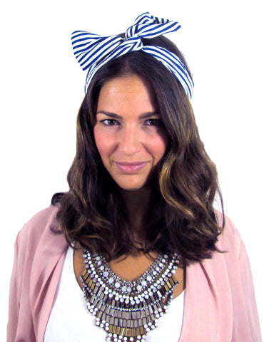 March Hare Headband / Navy Stripes