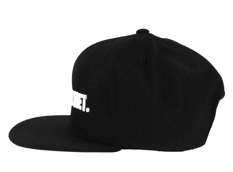 Alex & Chloe Black Snap Back With Just Ratchet Embroidered In White