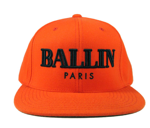 Alex & Chloe Snap Back in Orange with Ballin Paris embroidered In Black