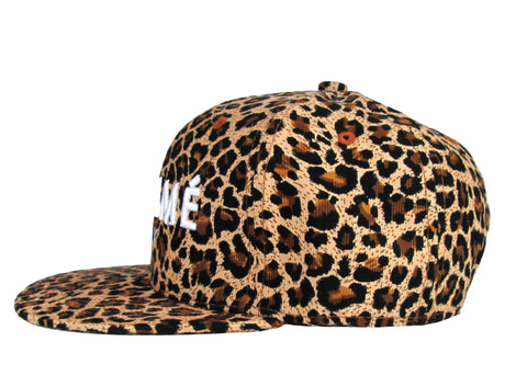 Alex & Chloe Leopard Snap Back With Homme Boy Embroidered In White