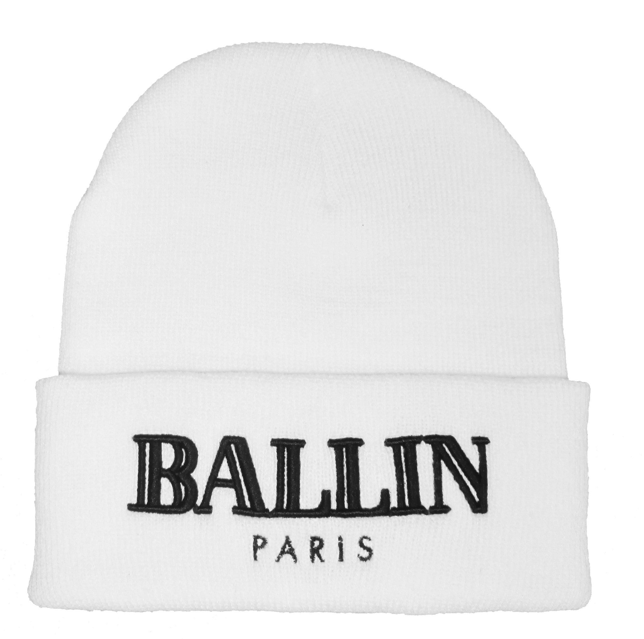 Alex & Chloe White Beanie With Ballin Paris Embroidered In Black