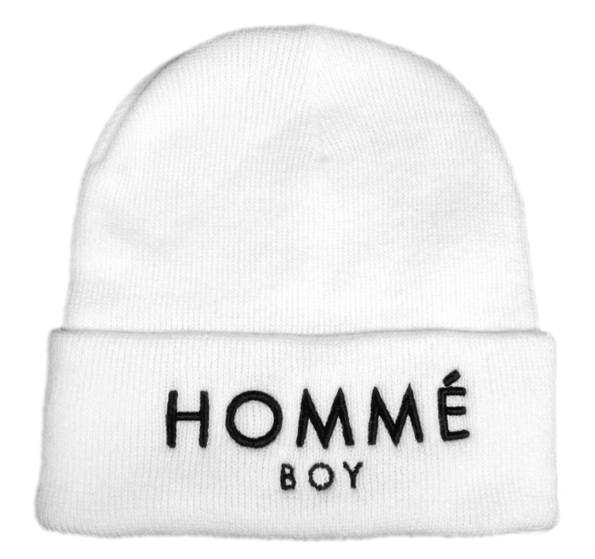 Alex & Chloe White Beanie With Homme Boy Embroidered In Black