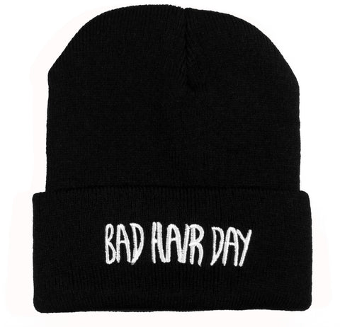 Black Knit Beanie With Bad Hair Day In White Embroidery
