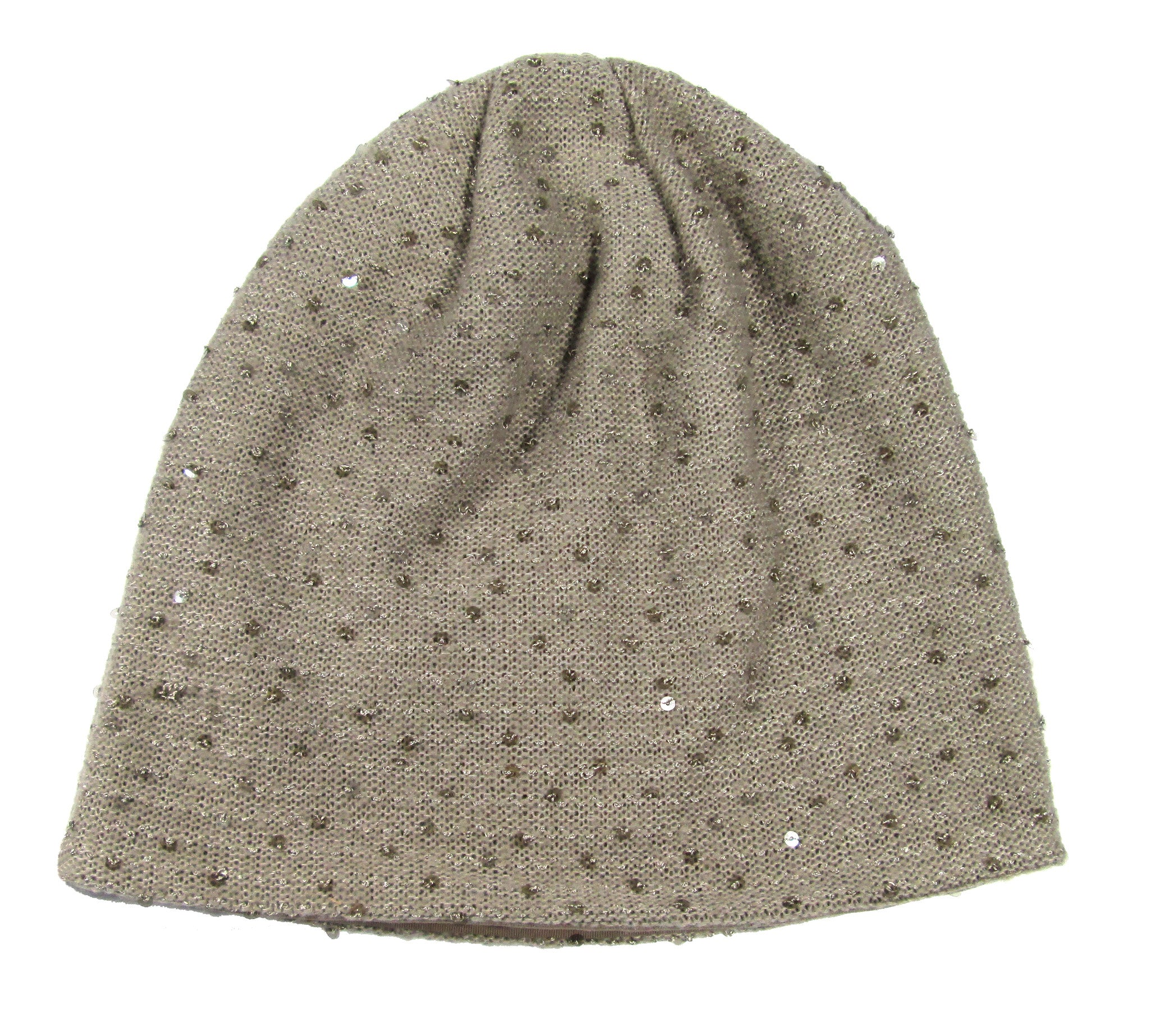Hat Attack Sequin Slouchy Beanie / Taupe