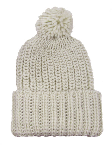 Pom Pom Knit Beanie in Cream