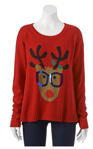 b6b329c4b27 Fashionable yet traditional. Even the reindeer has a little bit of style  here. What could be more stylish than a reindeer with sequence glasses and  a fuzzy ...