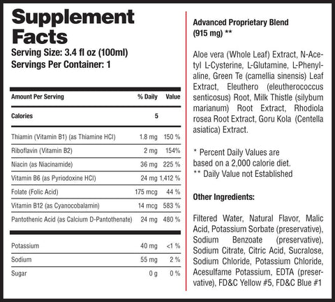 Supplement Facts include details of measurements of all vitamins included