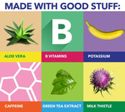 Boost ingredients include aloe vera, B vitamins, potassium, caffeine, green tea extract and milk thistle