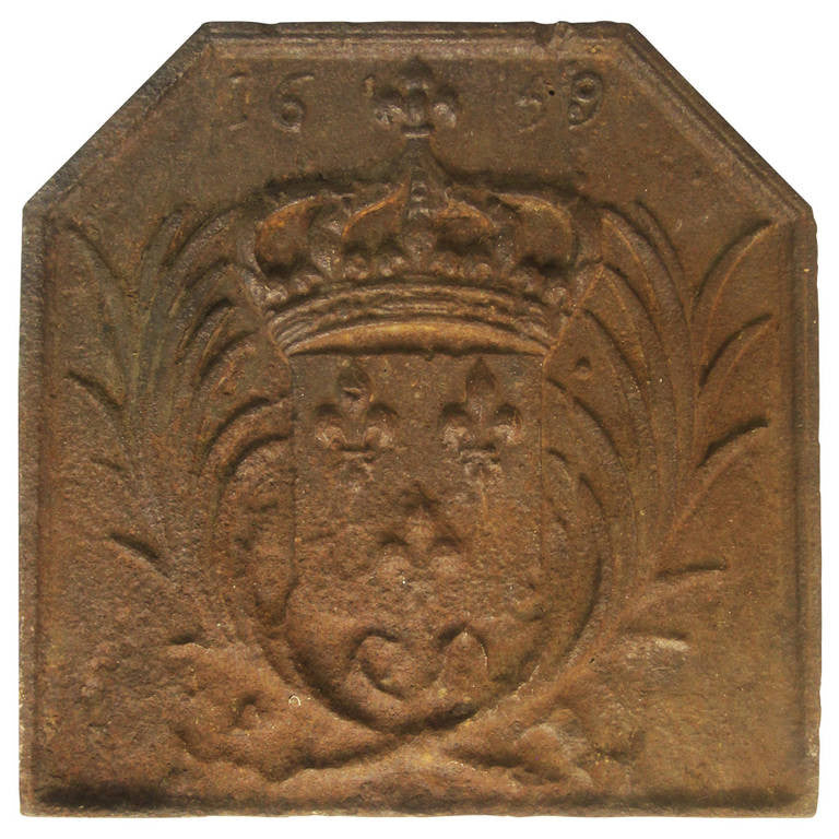 17th Century French Cast Iron Fireback, 1659