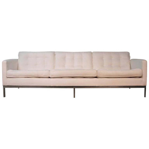 Florence Knoll Three-Seat Sofa in White