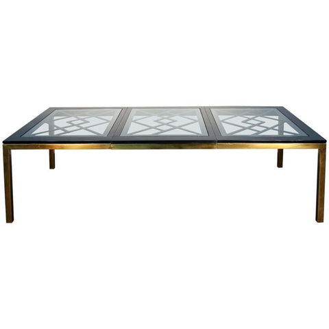 Brass and Black Lacquered Dining Table in the Manner of Mastercraft