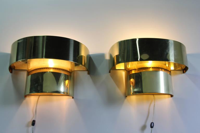Incredible Rare Pair of Curtis Jere Brass Wall Sconces
