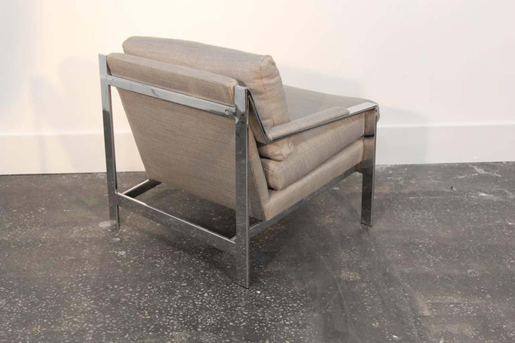 Pair of Cy Mann Chrome Flat Bar Lounge Chairs