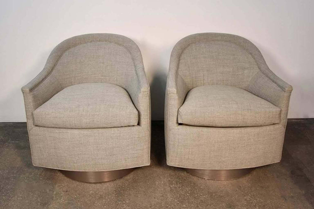 Pair of Mid-Century Modern Swivel Lounge Chairs
