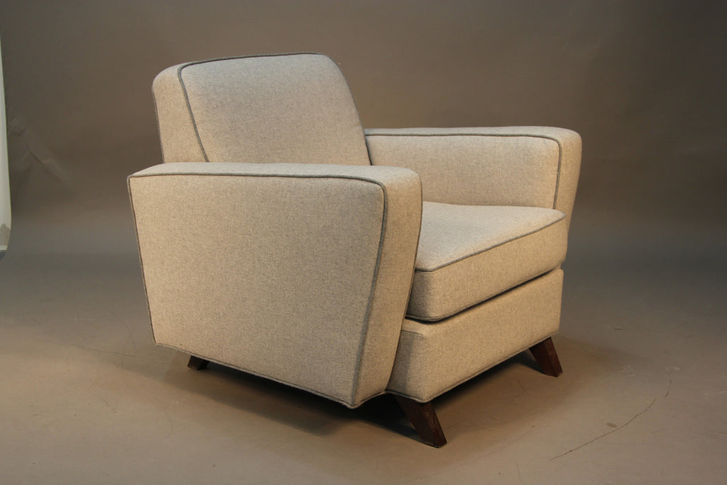 Pair of Mid-Century Modern Newly Upholstered Club Chairs
