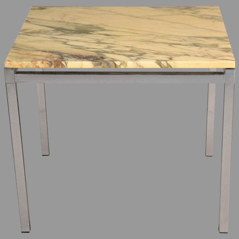 Chrome and Marble End Table