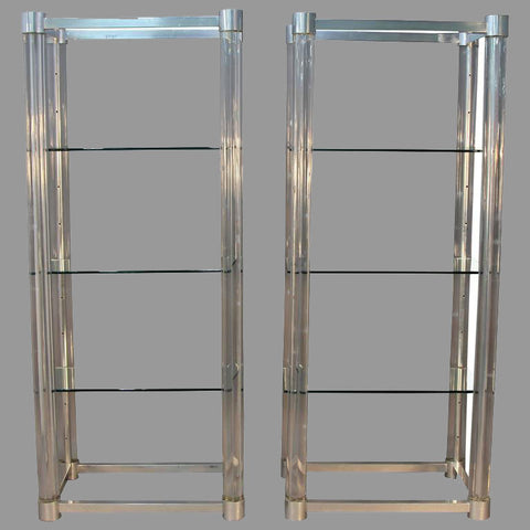 Amazing Pair of Lucite and Chrome Glass Shelf Etageres